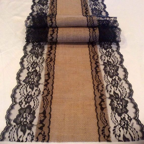 Burlap Lace Table Runner Wedding Runner With Black Lace, Wide X Long,  Rustic, Black Wedding Decor, Holidays