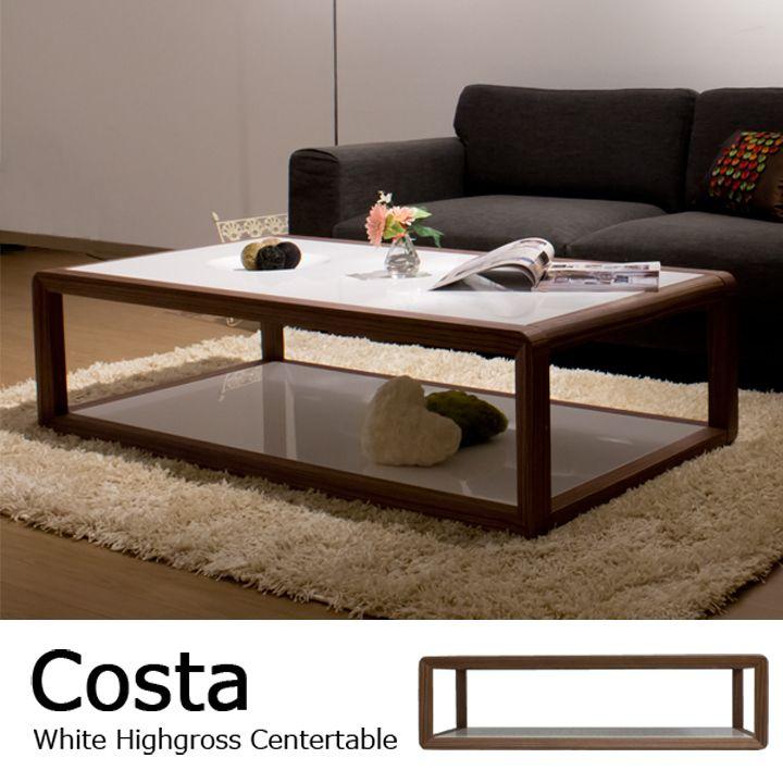ホワイトハイグロス仕上げ リビングテーブル / Costa | 家具通販 モーム