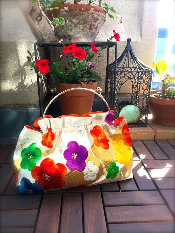 Obi, Obi Purse, Obi Bag / WH931 Multiple Color Ume(Plum Blossoms) pattern Gamaguchi Purse