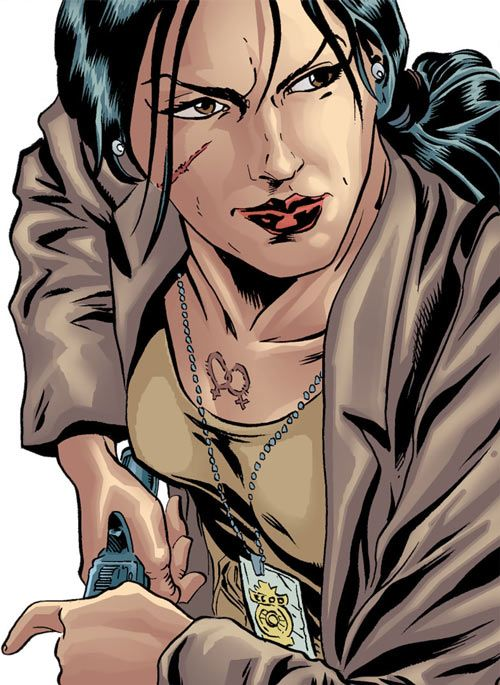 Renee Montoya (Gotham Central and 52 eras) (DC Comics) with scar and double venus burn scar. From http://www.writeups.org/renee-montoya-gotham-central-dc-comics/