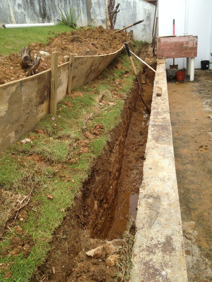 Preparación de sistema de drenaje frances.