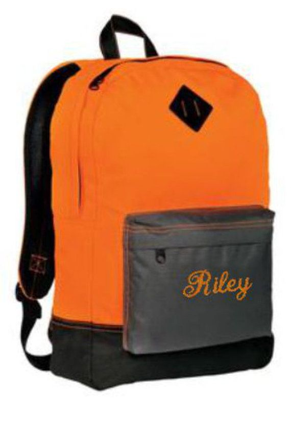 Backpack, personalized gifts, School Book Bags, Back to School, Neon Backpacks, Personalized Backpack, School Bag, School Backpack, School Book Bags, Teen Backpack, Personalized Kids Backpack All embroidery of Name or Initials are included in price. ITEM DESCRIPTION: A throwback to another age - now in bold color. Retro Backpacks, Neon Backpacks   600D polyester  Interior striped lining  Front zippered pocket  Media port  Interior pocket  Padded shoulder straps  17.75h x 12.25w x 5.25d…