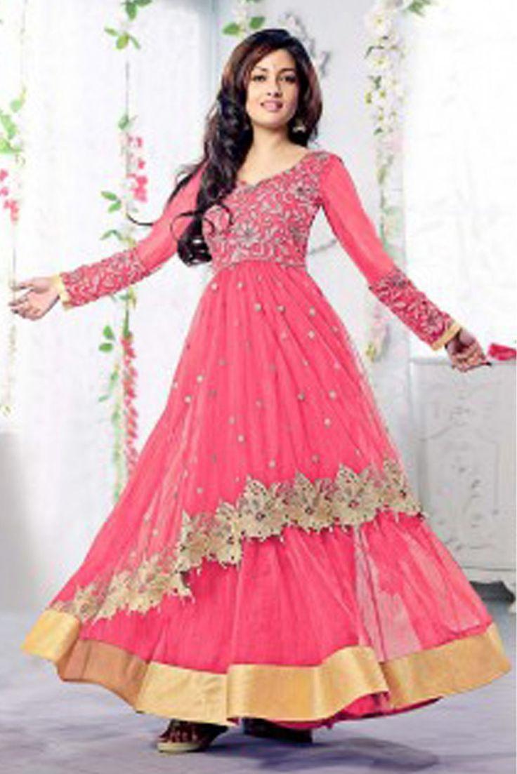 Designer salwar kameez mesmeric peach color net designer suit - Bollywood Riya Sen Net Semi Stitched Salwar Kameez In Pink Colour Designer