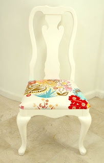 refinished chairs - cushions covered with laminated cotton