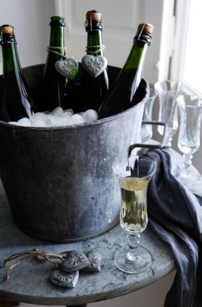 To drink Champagne one must have the perfect wine cooler - like an old galvanized bucket in the barn.  PARTY!