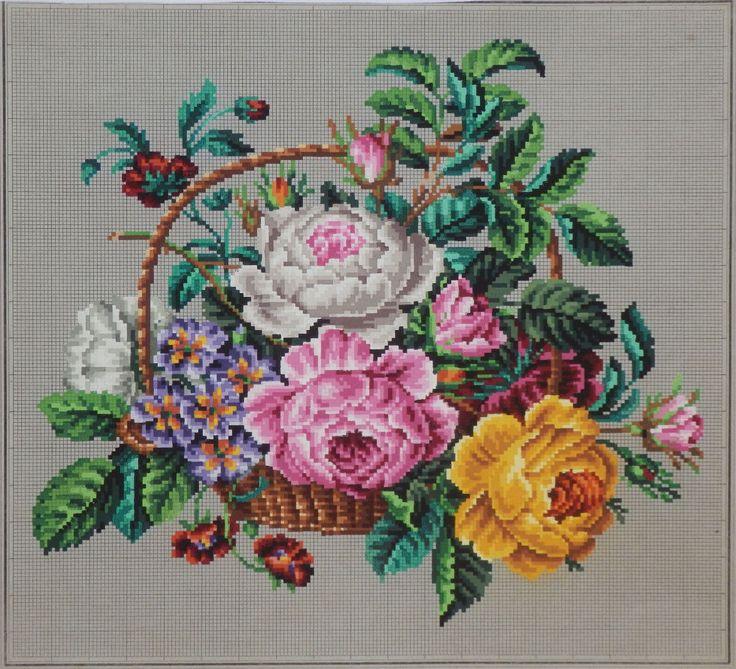 An Absolutely Beautiful Berlin WoolWork Pattern ~ Basket Of Flowers ~ Produced By SAJOU Paris