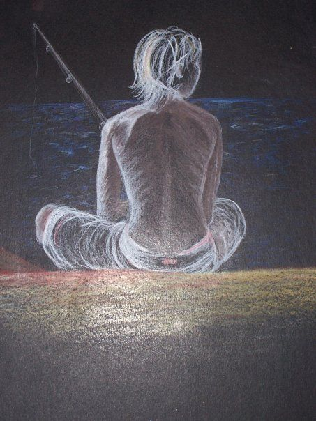 Pencil on black paper. Drawing. My son fishing