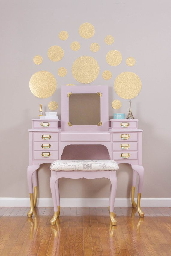 Gold Dipped Rose Pink French Vanity/Dressing Table with Matching Stool
