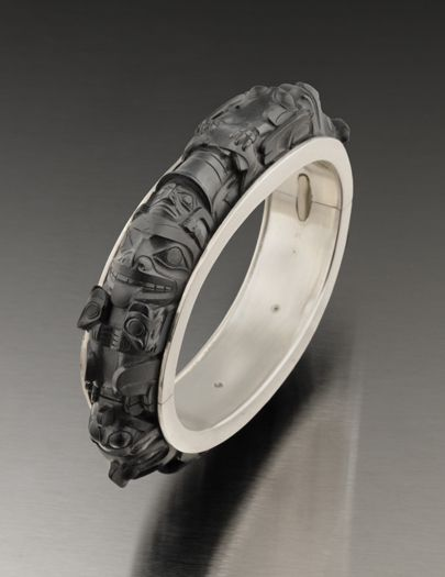 """Jay Simeon, Haida Nation:  Argillite Totem Bracelet.   unique masterpiece, 3.25 x 2.88 x 5"""", """"...A perfectly-carved expression of a complex narrative. The artist spent a year and a half creating the work."""