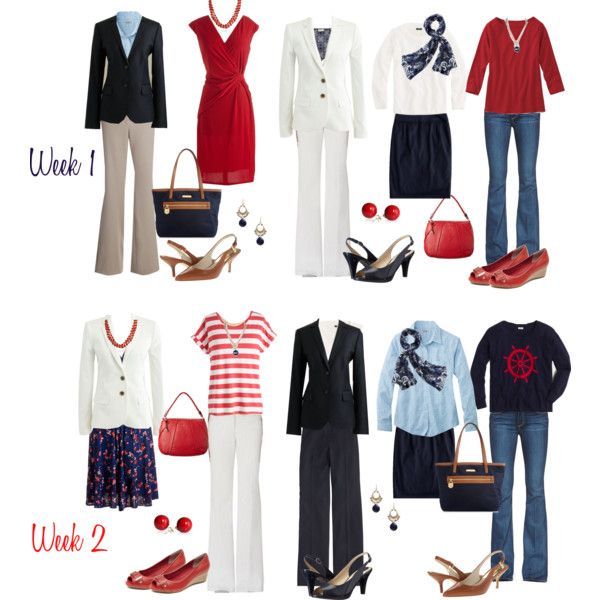 6 wks in1 suitcase: Red & Navy capsule 1 by kristin727 on Polyvore featuring Karina, J.Crew, Paige Denim, Rafaella, Naturalizer, MICHAEL Michael Kors, Michael Kors, Cole Haan, Bling Jewelry and Merona