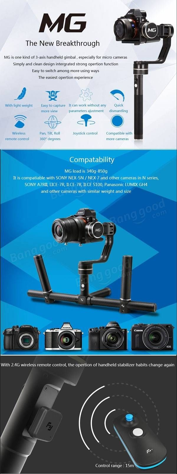 Feiyu mg micro single lens camera handheld 3 axis gimbal 360 degree rotate wireless control stabilizer