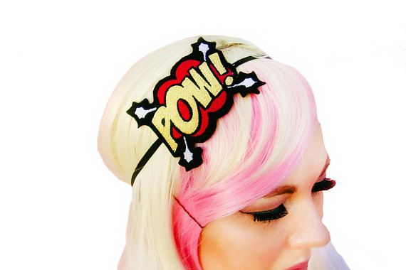 Comic Book Headband, Superhero Girls, Gifts For Geeks, Gift Under 20, Superhero Headband, Comic Book Pow, Geek Chic, Geek Gift, Graduation
