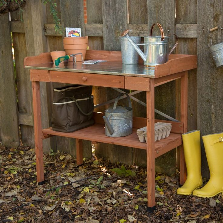 Planting Bench: Cypress Wood Lotus Potting Bench