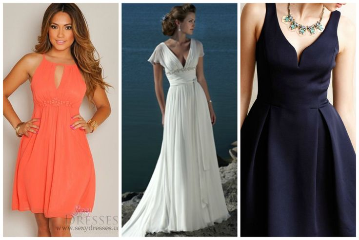 Outfit for apple shape body. Orange dress, white maxi dress and black dress. Learn how to dress your apple shape body >>> http://justbestylish.com/how-to-dress-the-apple-figure/2/
