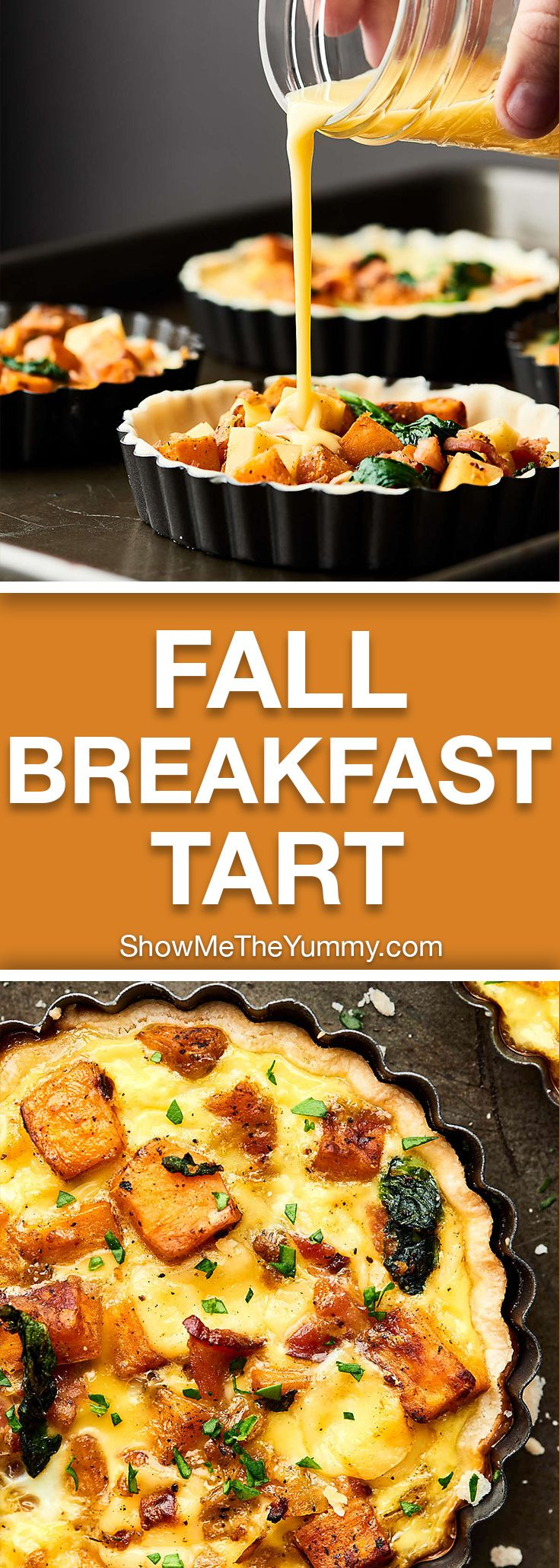 An Easy Cheesy Bacon Breakfast Tart Recipe full of crispy bacon, smoky gouda, and creamy sweet potatoes! Made ultra easy with store bought pie dough! showmetheyummy.com #breakfast #bacon