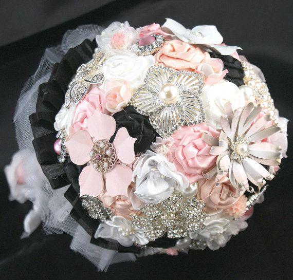 Brooch Bouquet Bridal Bouquet in White Blush Pink by SolBijou, $550.00