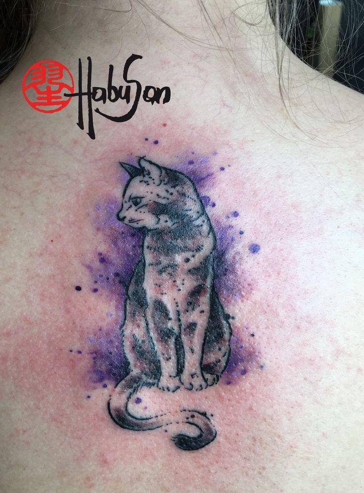 Katze #tattoo #wien #habusan #cattattoo #watercolourtattoo
