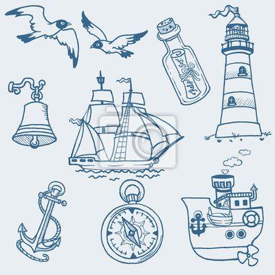 Adesivos passar férias, bird, wave - doodles náuticas - mão desenhada coleção em vetor ✓ Vasta gama de materiais ✓ Adaptamos os produtos às suas necessidades  ✓ Confira a opinião dos nossos clientes!