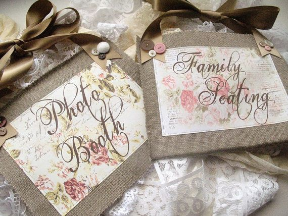 Wedding Signs In Burlap CUSTOM
