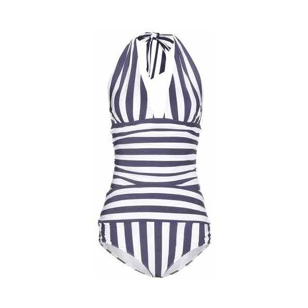 Dolce & Gabbana Striped Swimsuit ($370) ❤ liked on Polyvore featuring swimwear, one-piece swimsuits, striped swimsuit, swim suits, striped bathing suit, swim costume and dolce gabbana swimwear
