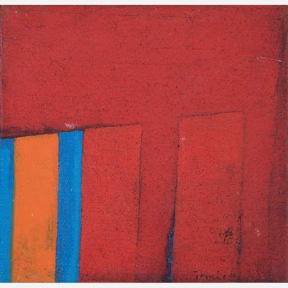 Tomie Ohtake<br>Óleo sobre tela<br>30 x 30 cm.
