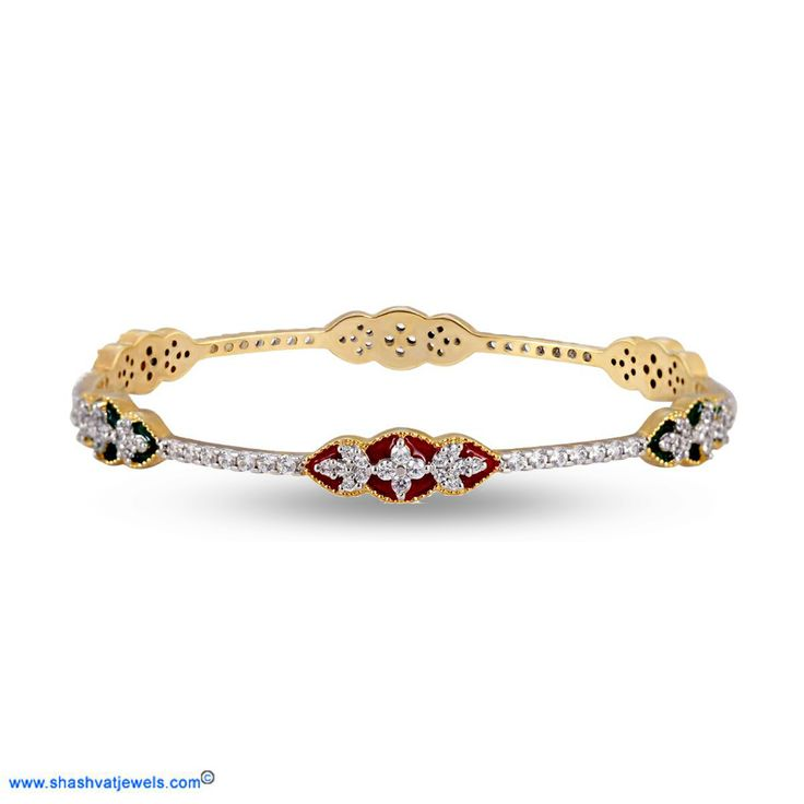 "A stunning collection of ""Enamel Jewellery"" from Shashvat Jewels. Bright and lustrous, this bangle has a defined floral pattern with a precious round cut diamonds in this bangle. A classic you will love. #diamond #bangle #for #her http://www.shashvatjewels.com/ProductDetail.aspx?prdid=991&name=Enamel%20Floral%20Pattern%20Diamond%20Bangle All our designs are available in white gold and silver..!!"