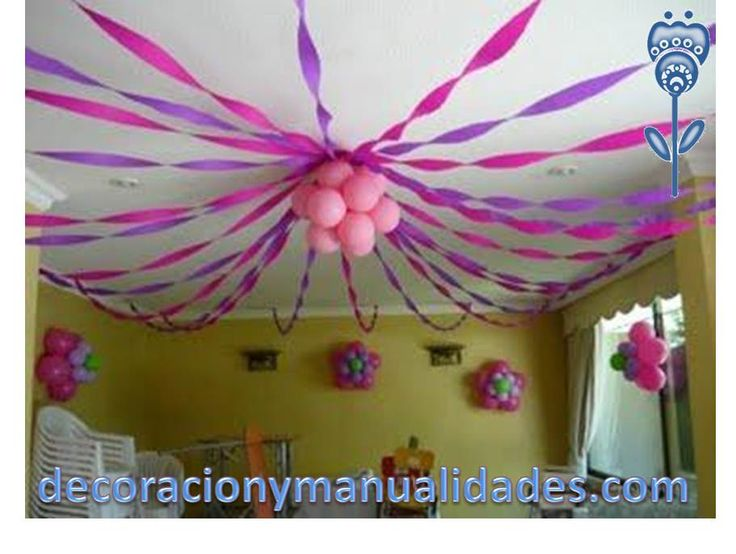 Love the streamers to roof idea party pinterest pink for Balloon and streamer decoration ideas