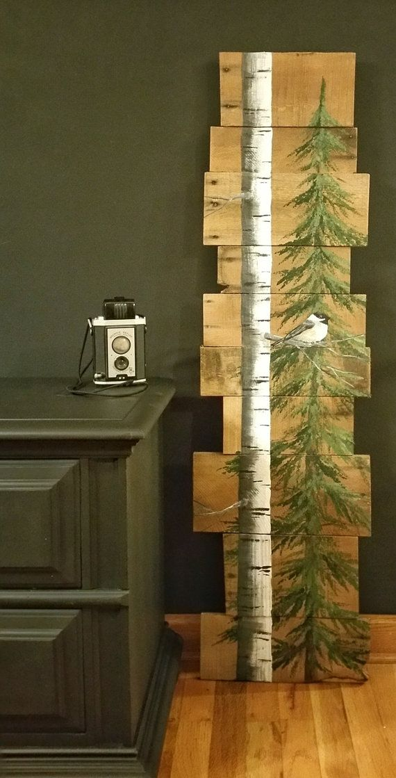 White Birch & Pine tree Reclaimed Wood by TheWhiteBirchStudio
