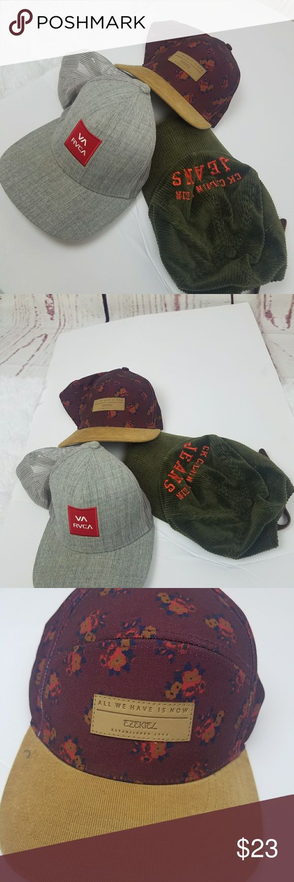 Lot of 3 hats RVCA. CK JEANS Gray VA RVCA. GREEN CORDUROY CK JEANS .  Maroon floral. Preow n. Good condition. Minor signs of previous use. RVCA Accessories Hats
