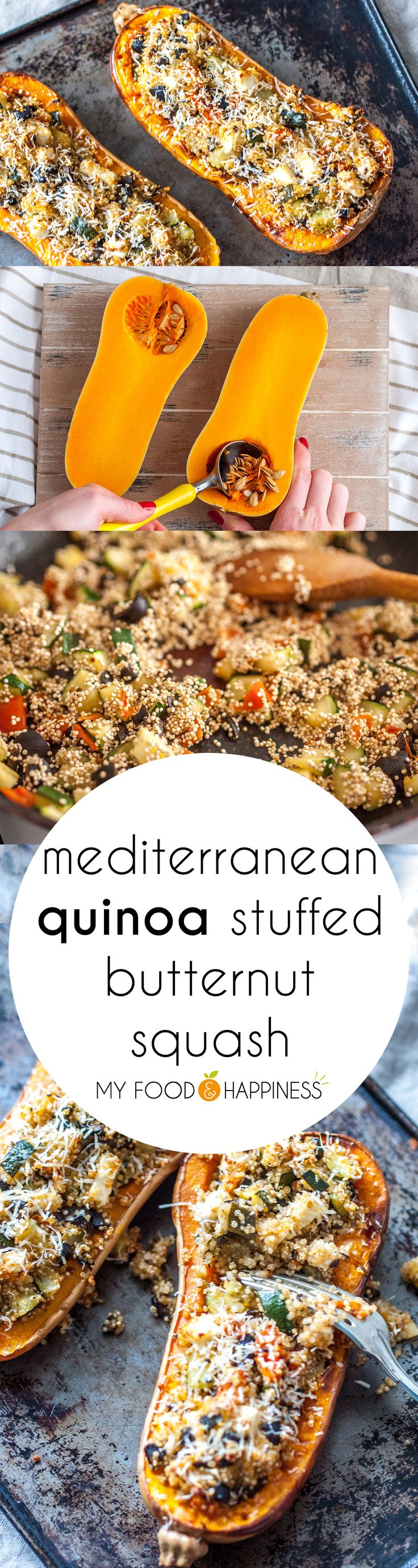 Delicious and healthy Mediterranean Quinoa stuffed butternut squash recipe. Easy and beautiful vegetarian & gluten-free meal that tastes amazing! Turn it into a vegan meal by skipping the cheese.