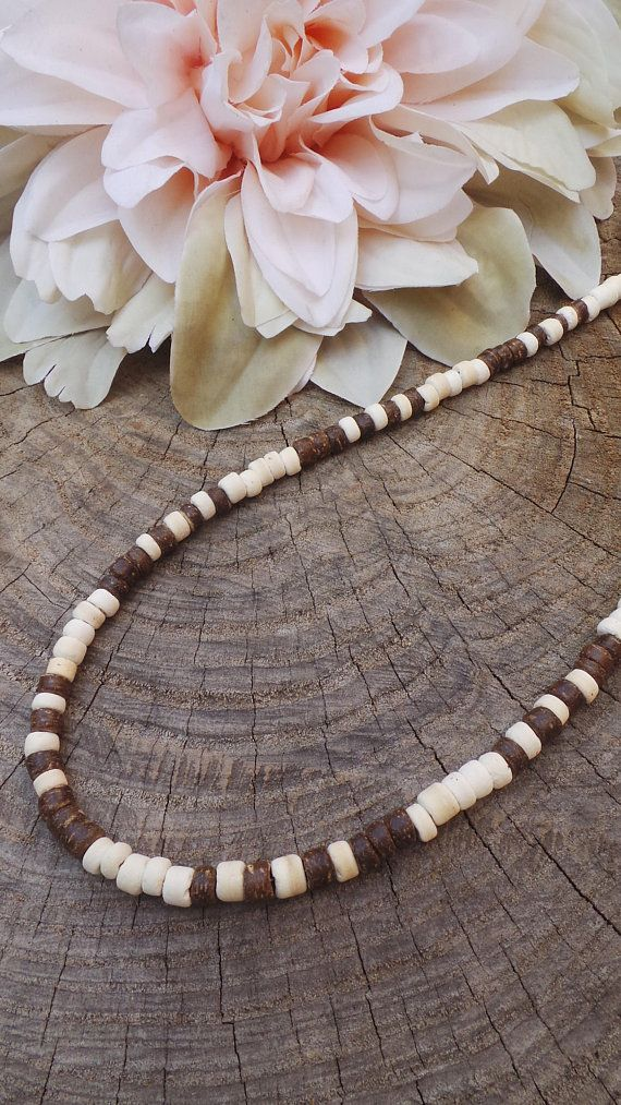 Mens Beaded Necklace Mens Surfer Necklace Mens Wood Bead