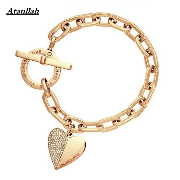 Bracelets  3Color New Heart With CZ Diamond Gold Plated Women Bracelets