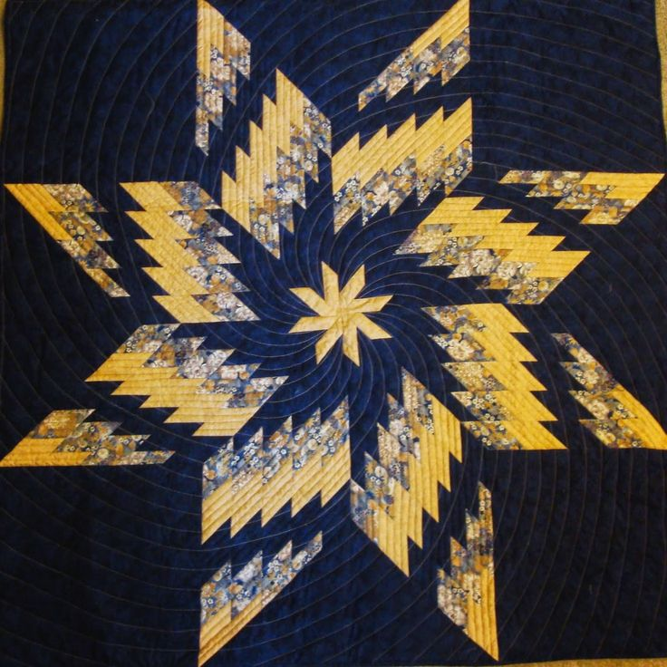 "= free pattern = bargello star quilt:  Twirling Swirling Dance, 48 x 48"", by Barbara H. Cline"