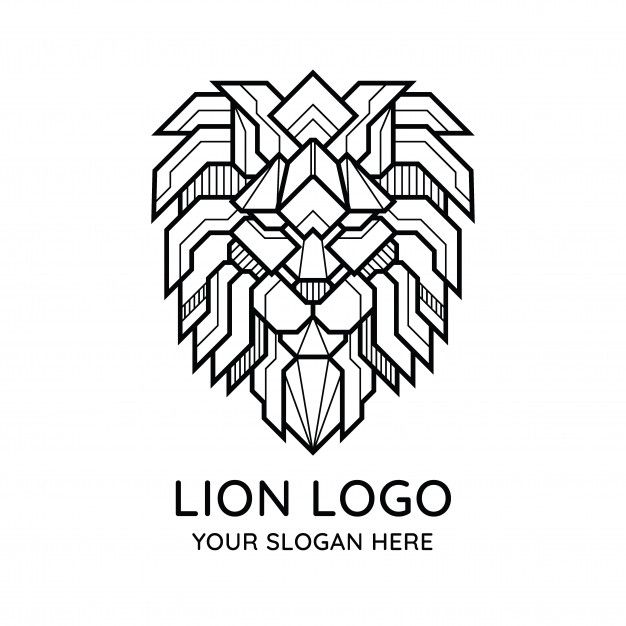 Abstract Geometric Lion Face Logo In 2020 Geometric Lion Tribal Logo Lion Logo