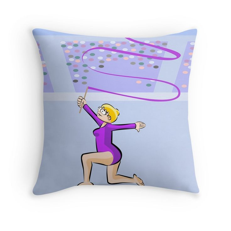 Little girl shows her dexterity with the ribbon #ThrowPillows #gymnastics #rhythmic #ribbon #slim #gymnast #girl #woman #olympic #games #athlete #dance #cartoon #cartoons #olympicgames #summergames by Daniel Ghioldi