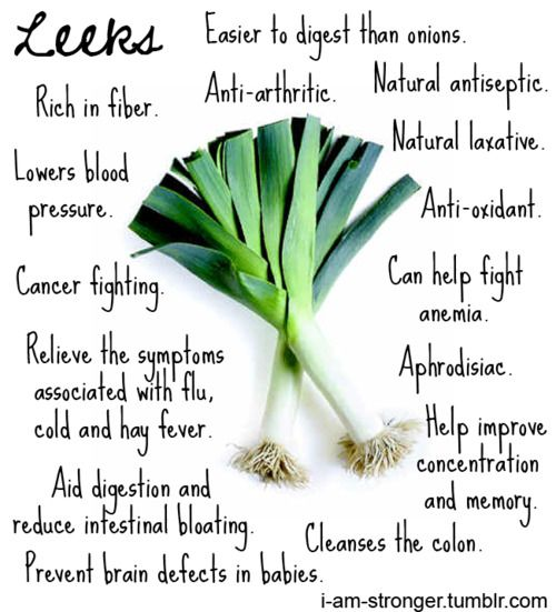 full of antioxidants, 75% complete amino acids, tons of trace minerals and heaping helpings of potassium and vitamin c. leeks are a fine spring tonic for the blood and tune up the metabolism. <3