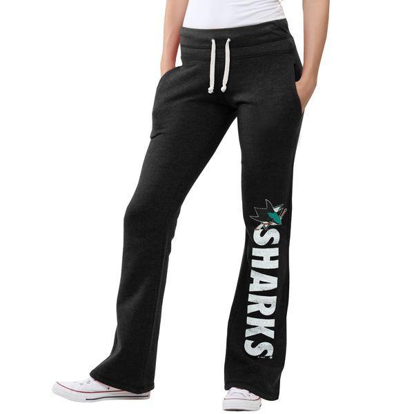 Women's San Jose Sharks Original Retro Brand Black Tri-Blend Pocketed Slim Fit Fleece Pants