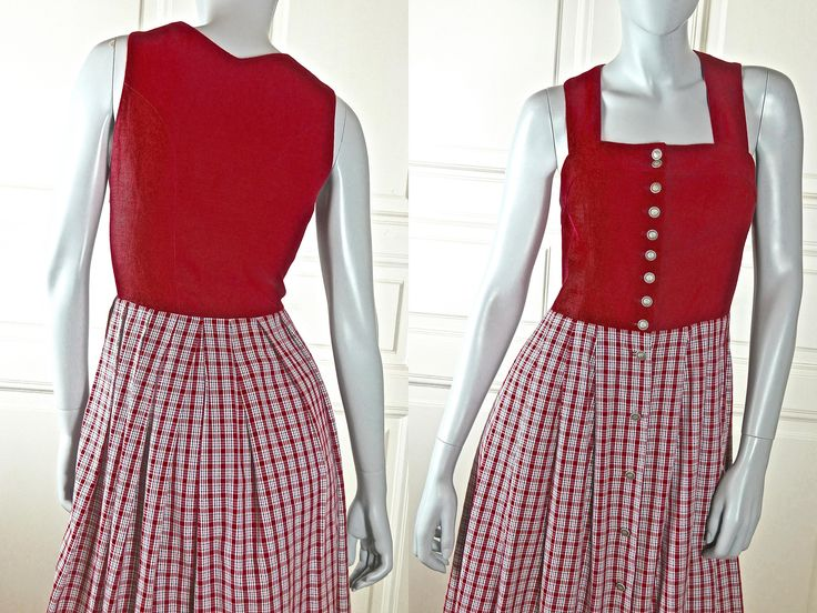 Austrian Vintage Dirndl Dress, Red Linen Cotton Bodice Red White Black Plaid Skirt & Pewter Edelweiss Buttons: Size 12 US, Size 16 UK by YouLookAmazing on Etsy