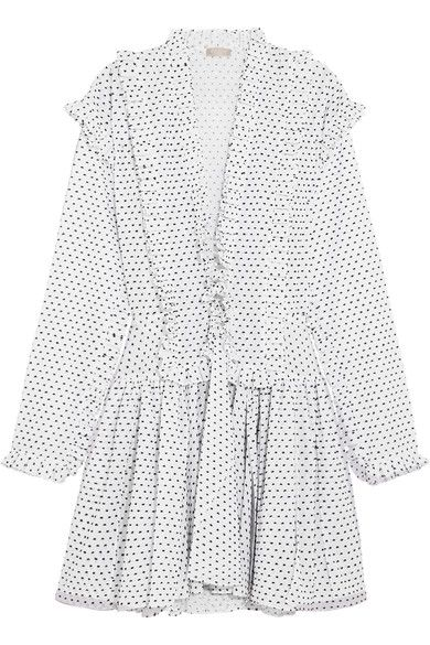 Alaïa - Ruffled Swiss-dot Cotton Mini Dress - White - FR44