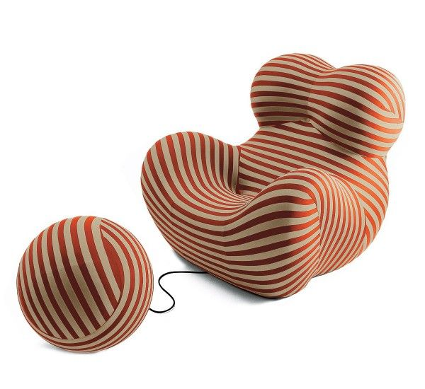 """Designed in 1969 by Gaetano Pesce for B&B Italia, it is a legendary piece of design. The structure of this armchair and ottoman is in Bayfit® flexible cold shaped polyurethane foam. The coating, in elastic fabric, is not removable. Icon of modernity, Up5 armchair is characterized by an extraordinary visual impact that has made it unique. Combined with Up6 ottoman, it represents a female figure tied to a ball-shaped ottoman """"symbolizing the shackles that keep women subjugated"""". The curved…"""