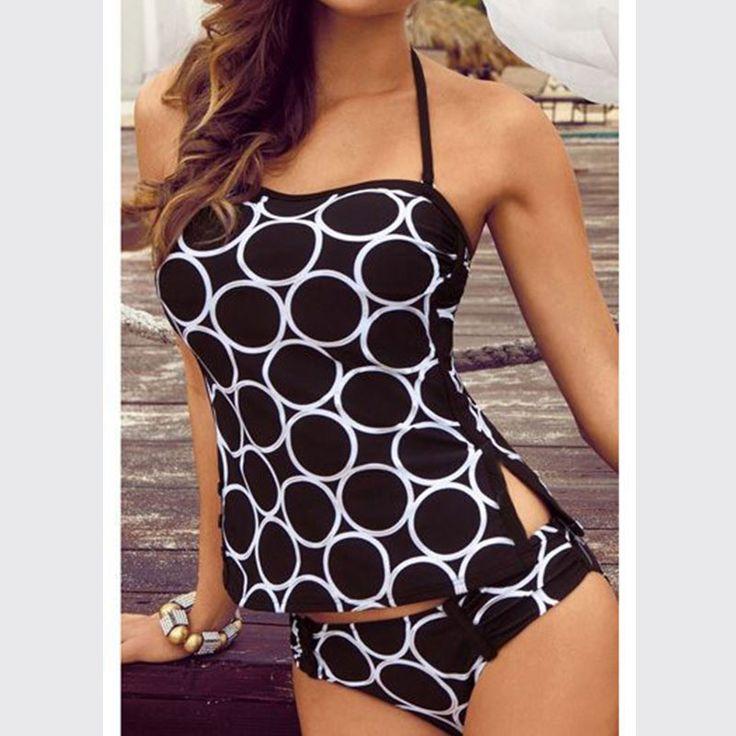 2016 New Tankini 2 pcs Women Swimwear Woman Beach Wear Bathing Suit Swimsuit Women's Swimming Suit Retro Swimwear Tankini Sets