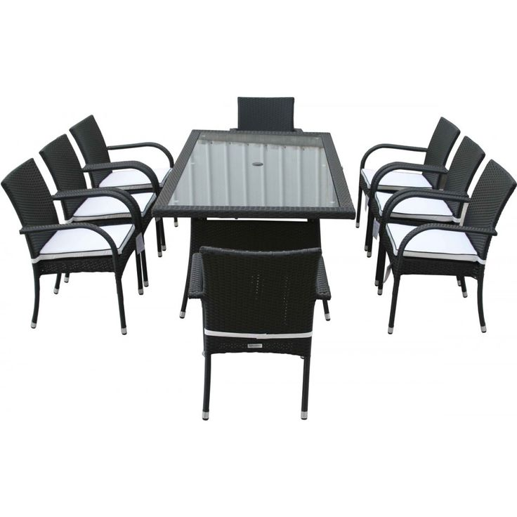 8 Roma Stacking Chairs And Rectangular Dining Table Set