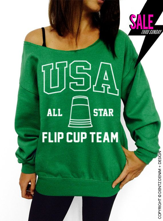 USA All State Flip Cup Team - Green Slouchy Oversized Sweatshirt USA All State Flip Cup Team - Black Muscle Tee Tank T-shirt #tank #top #summer #tee #party #holidays #4thofjuly #fourthofjuly #memorialday #laborday #picnic #cookout #bbq #family #friends #usa #beerpong #flipcup #frat #brothers #sisters #fraternity #sorority #big #little #allstate #champs #best #college
