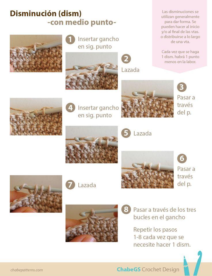 Fototutorial sobre cómo hacer disminuciones con medio punto (punto bajo) en crochet, instrucciones paso a paso