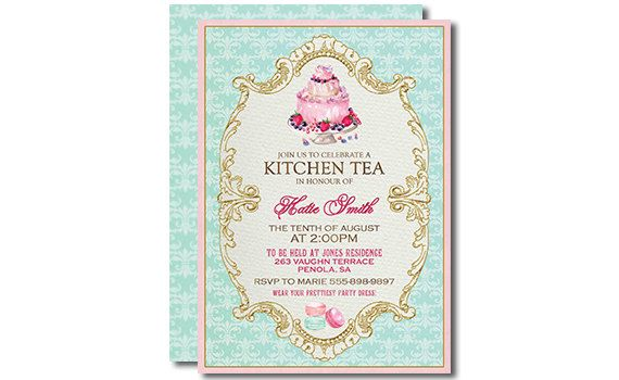 tea invitation kitchen tea chevron printable kitchen tea bridal tea