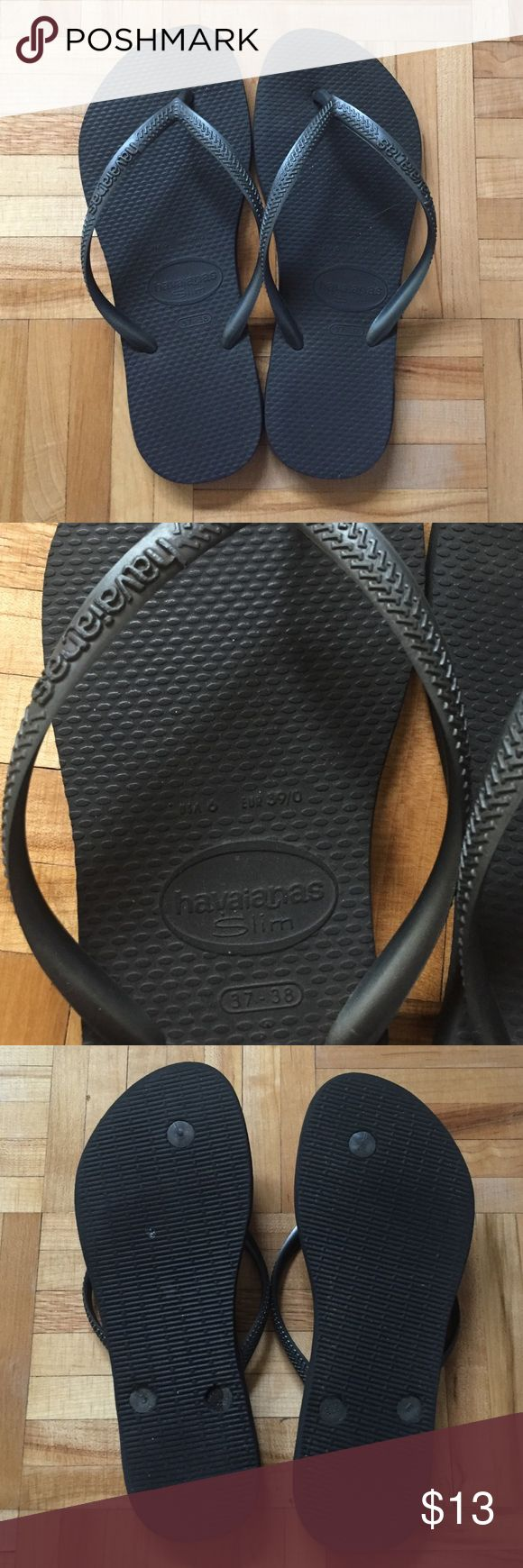 Havaianas Slim Flip Flops Metallic Graphite Thong-style construction with rounded toe post. Rubber upper with metal logo tag at strap. Man-made lining. Lightly cushioned man-made footbed. Textured man-made sole. Havaianas Shoes Slippers
