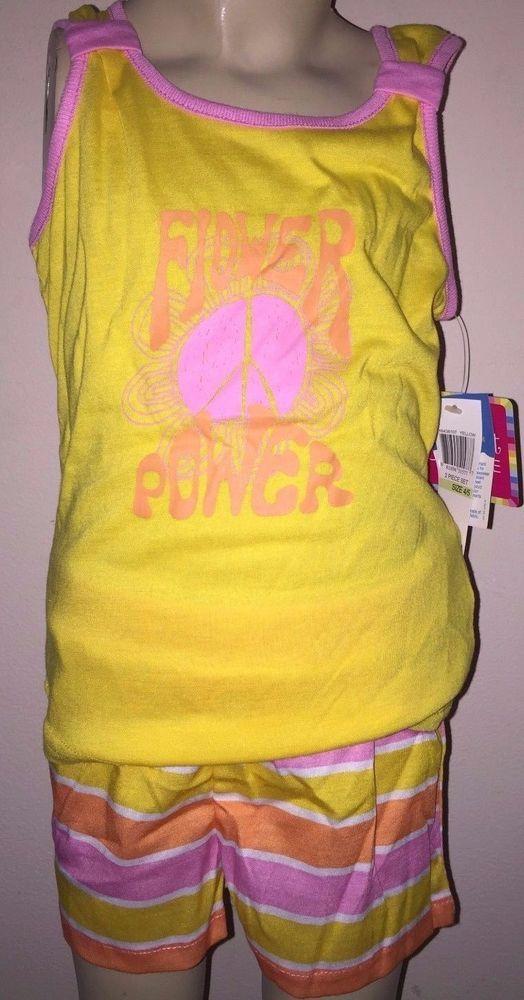 Girls Flower Power Yellow Pink Orange Tank Top Pajamas Size 10-12 #Unbranded #PajamaSet