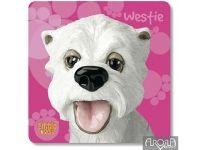 Untersetzer für Kaffeebecher oder Gläser, Motiv Westie  Witzige Untersetzer für Kaffeebecher oder Gläser Motiv Westie. Die bunten Accessoires sind eine erfrischende Deko für das Ambiente oder eine originelle Geschenkidee für West Highland Terrier Fans.