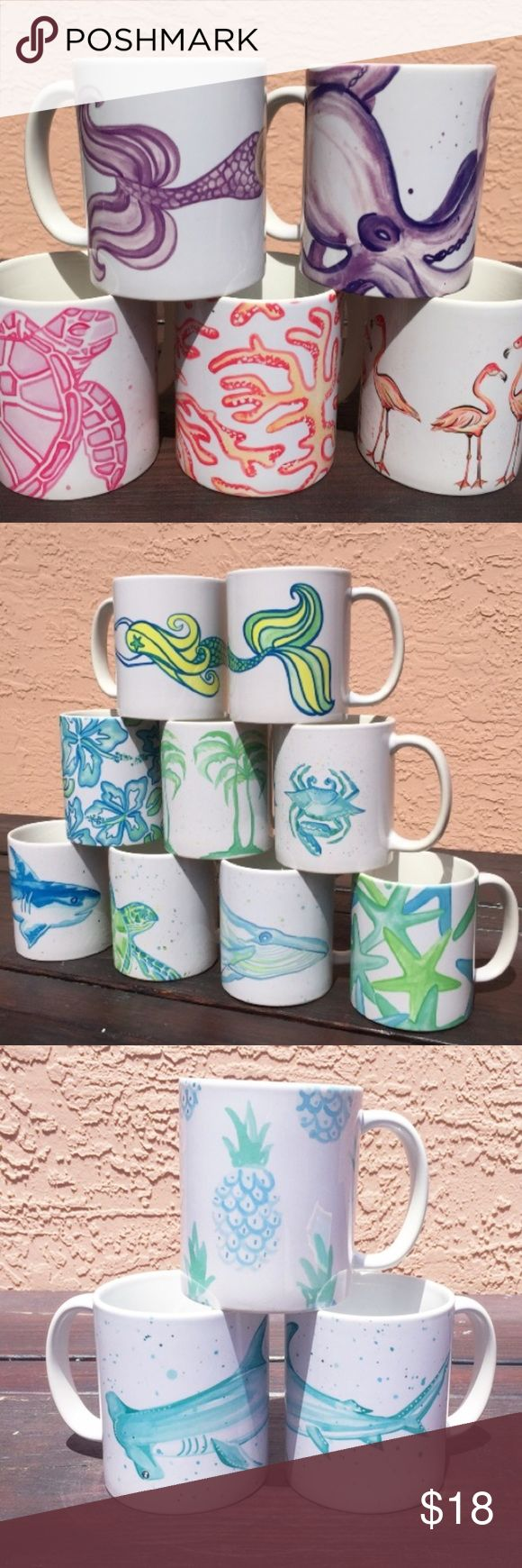 SALE! 2/$30 Mugs Mix & Match 🌴🌴🌴12 oz 20% of two or more mugs from our sea life series at Go Coastal Studio Palm Beach. Listed Lilly for exposure. Each mug is microwave and dishwasher safe. Vibrant see life pattern. Limited edition. 🌴🌴🌴 Lilly Pulitzer Other