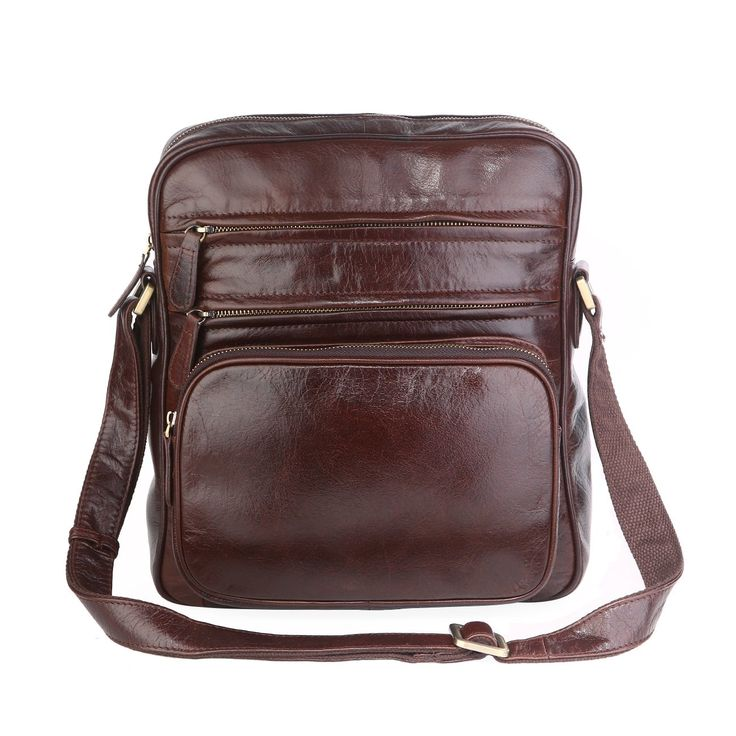 Horiya Men's Genuine Cowhide Leather Trendy Small Shoulder Bag Messenger Bag Work Bag